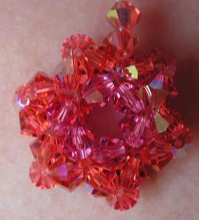 Pendentif cristal bohême cerise framboise